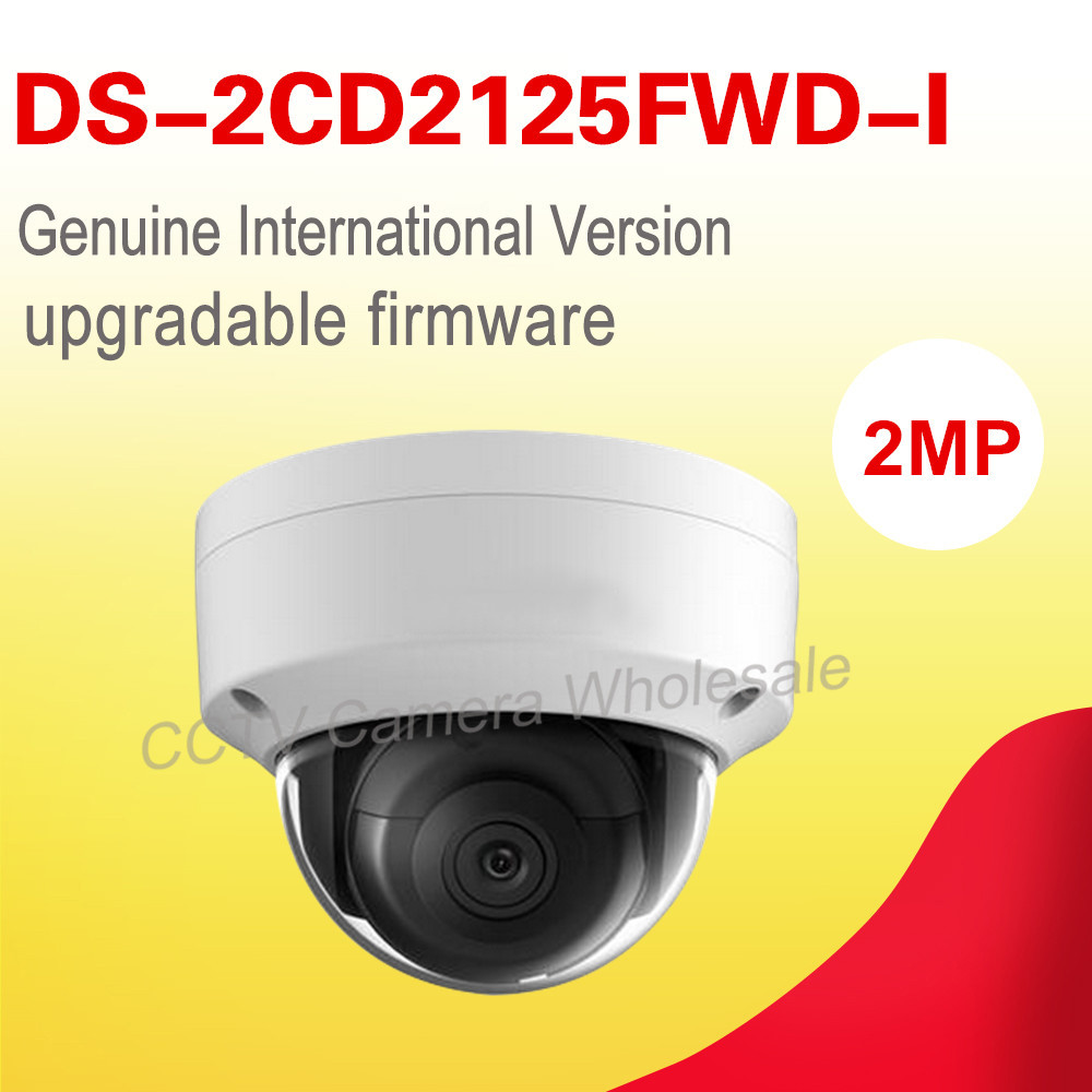 Free shipping English version DS-2CD2125FWD-I 2MP Ultra-Low Light Network Dome ip Camera, POE CCTV Camera, H.265+, no audio 6mm 3mp f1 2 1 2 5 inch sony imx290 imx291 lens for 1080p 3mp ultra low light ip camera cctv camera free shipping