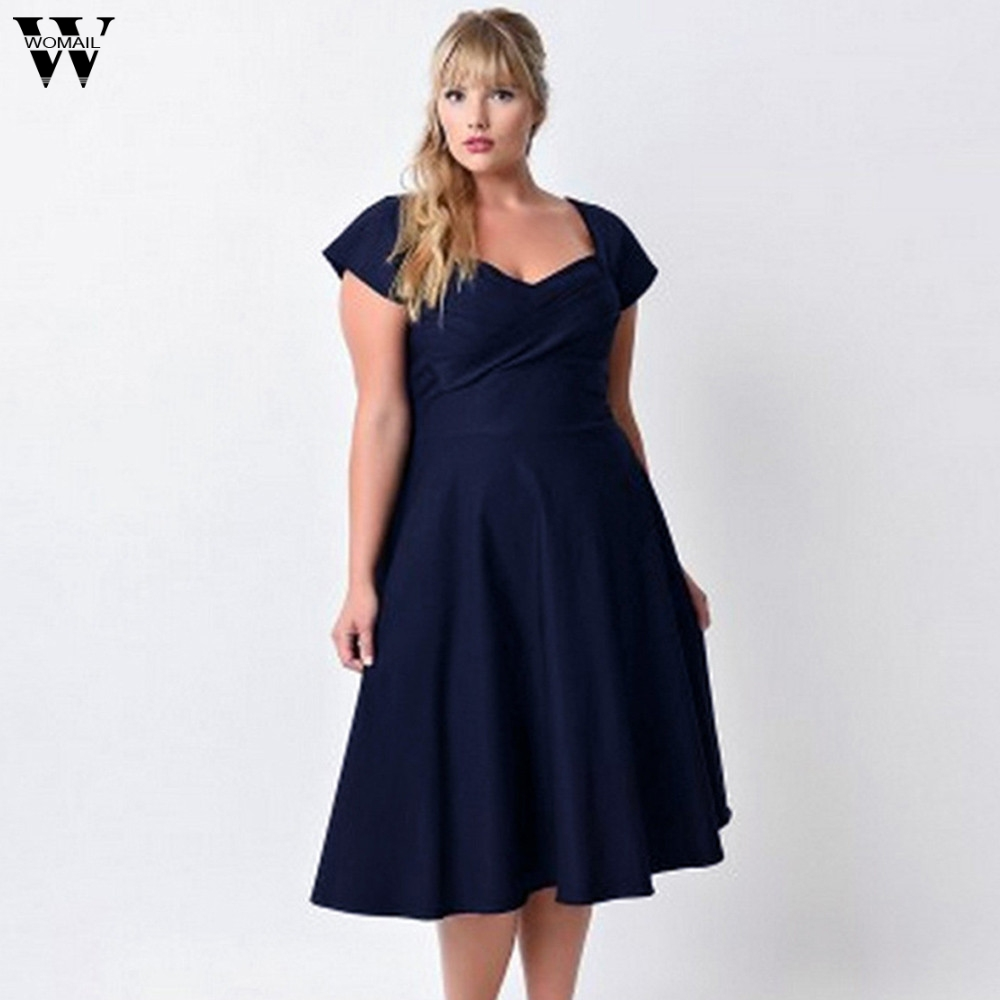 Womail Solid V Neck Formal Dresses Big Sizes Evening Party Swing Dress Plus Size Women Clothing Orange,Navy JAN 19