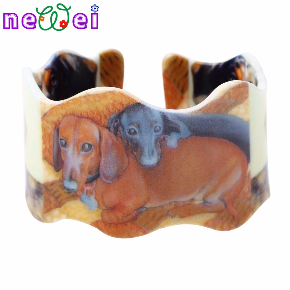 NEWEI Acrylic Love Dachshund Bracelets Bangles For Women 2017 News Fashion Animal Dog Jewelry Spring Summer Accessories