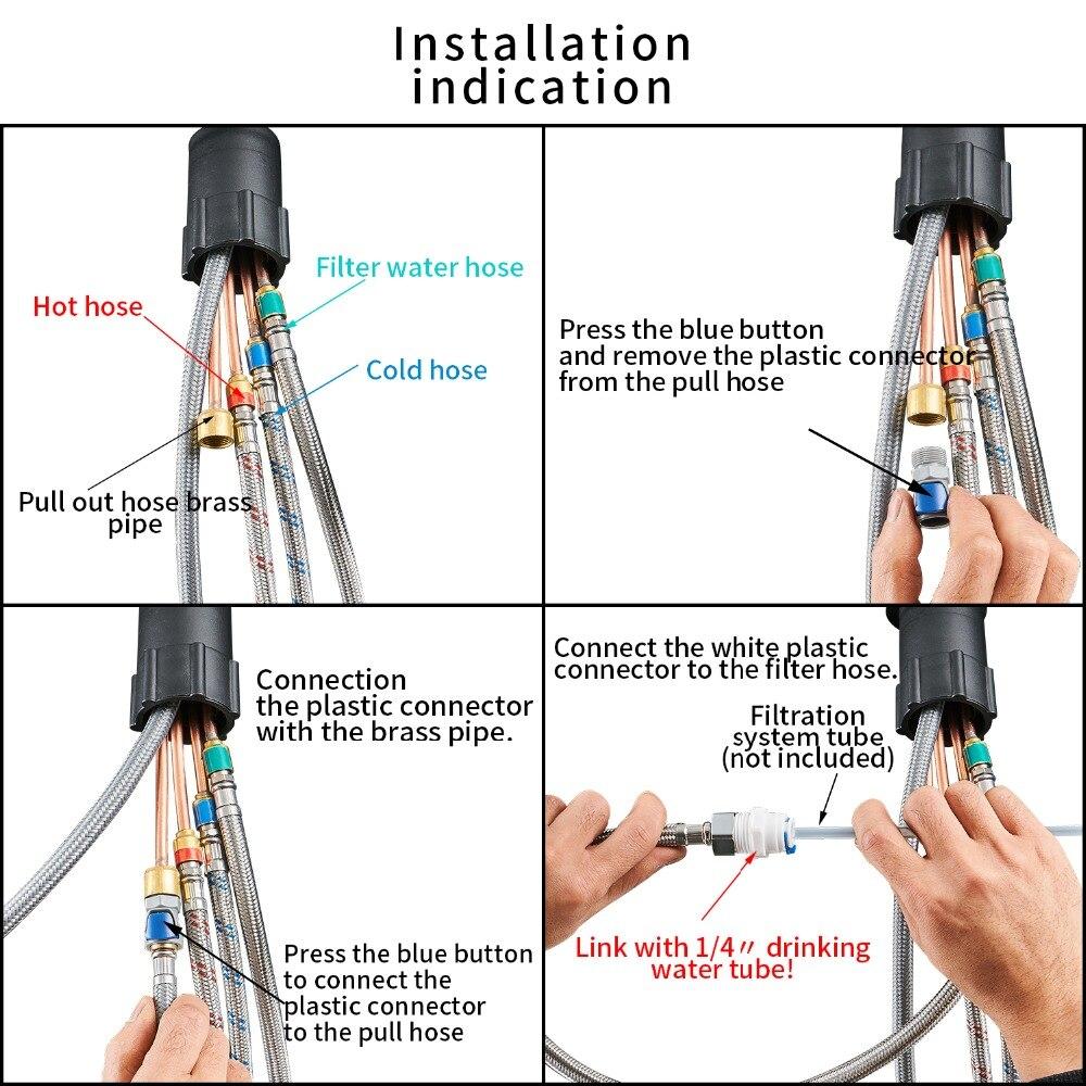 Robinets de cuisine torneira para cozinha de parede grue pour cuisine filtre à eau robinet trois voies évier mélangeur cuisine robinet WF-0195 - 6