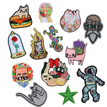Cartoon Cat Embroidered Patches Iron on For Clothing Lizard Flower Appliques Kawaii Flower Cats Badges Coats Hats Shoes Parches embroidered flower appliques skirt