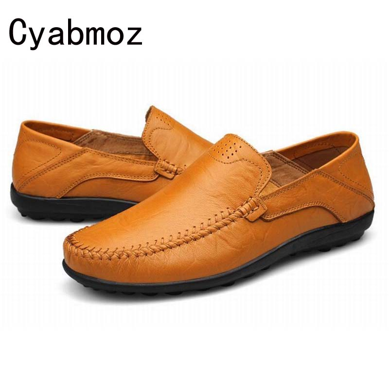 Genuine Leather Men Shoes Plus Size Men Flats Casual Shoe Loafers,Fashion Slip On Moccasins,Handmade Driving Shoe Zapatos Hombre cyabmoz 2017 flats new arrival brand casual shoes men genuine leather loafers shoes comfortable handmade moccasins shoes oxfords