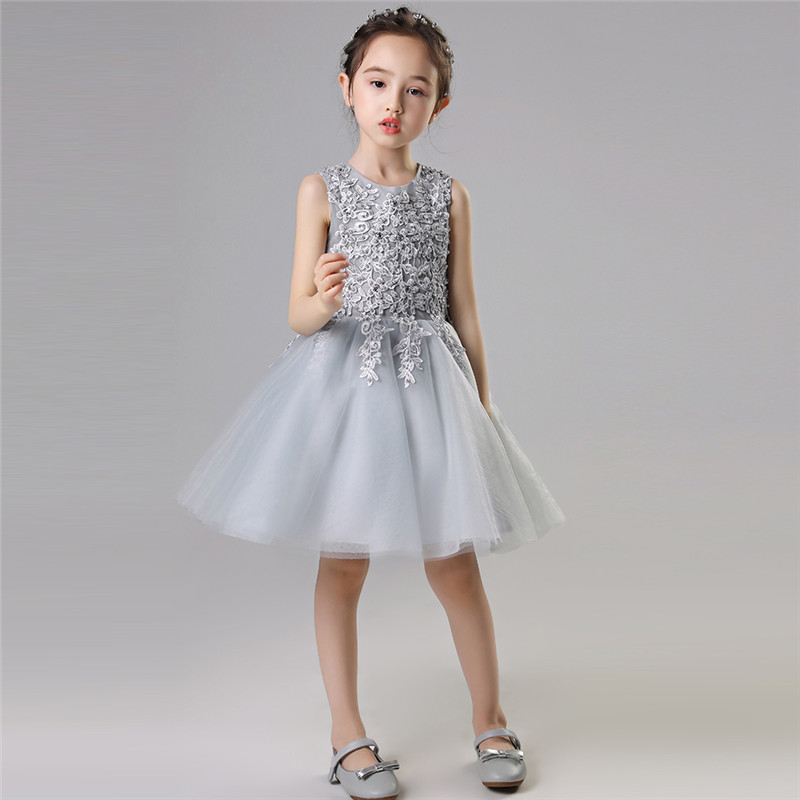 2018 New Baby Kids Gray Color Birthday Evening Party Princess Lace Ball Gown Dress Toddler Girls Elegant Tutu Pageant Dress summer new high quality baby kids birthday wedding party princess lace short dress little girl toddler evening party tutu dress