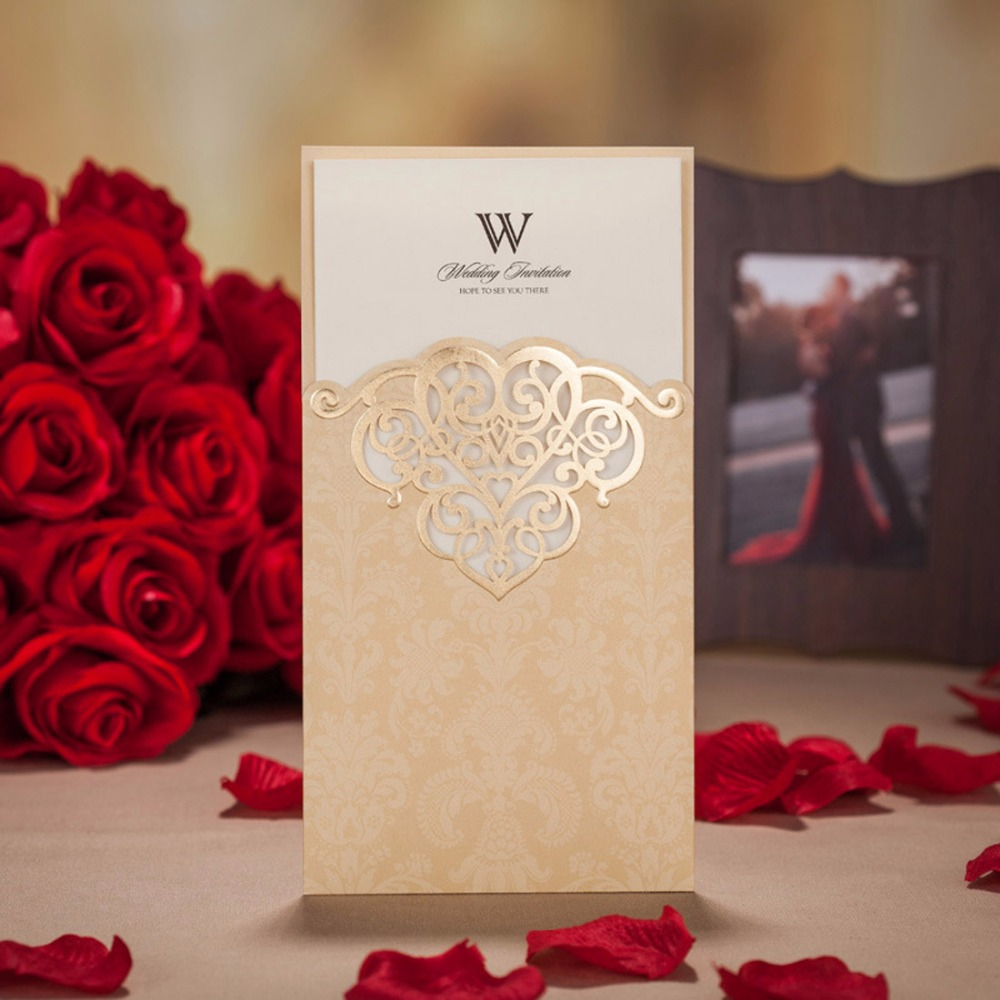 Gold color cardstock paper - Laser Cut Wedding Invitations Cards Romantic Red Gold Paper Cardstock Elegant Birthday Party Favors Supplies Cw2002