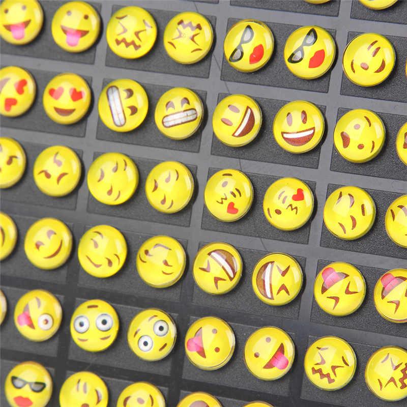 0e4f63cbc ... 36pairs/set 8MM Round Yellow Resin Cartoon Face Emoji Stud Earrings For  Women Girls Office ...
