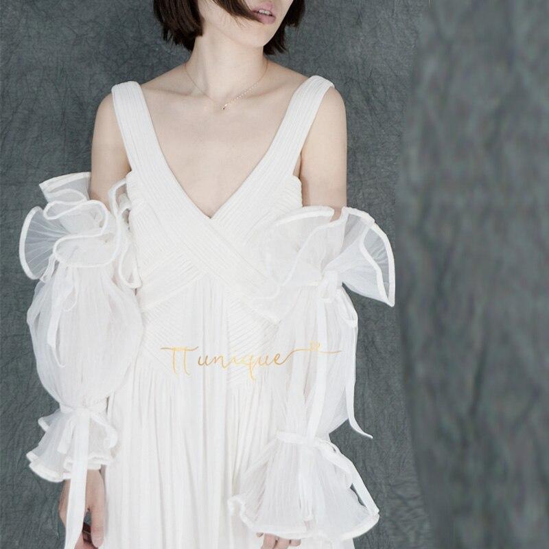 Voyage shoot style mariage manches d'eau manchette bras décoration perle à la main longue main manches de mariage chemise POLO faux poignet poignet
