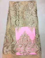 (5yards/pc) High quality champagne gold African tulle lace French net lace fabric with sequins embroidery for party dress FLZ82