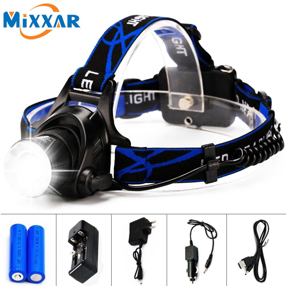 E Rechargeable LED Headlamp Flashlight Zoomable 3 Modes Adjustable Head Strap Headlight for Running Camping BBQ DIY Repairing