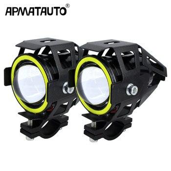 2 шт. 125 Вт moto rcycle фар W/Ангел глаз дьявол глаз 3000LM moto spotlight U7 светодиодный LED вождения туман пятно головного света декоративные лампы