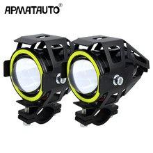 2 pçs 125w moto rcycle farol w/anjo olho diabo 3000lm moto spotlight u7 led condução nevoeiro ponto cabeça luz decorativa lâmpada