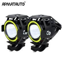 2PCS 125W Moto rcycle Faro w/Occhio di Angelo Diavolo Occhio 3000LM moto riflettore U7 LED di Guida Nebbia spot Testa Luce Della Lampada Decorativa