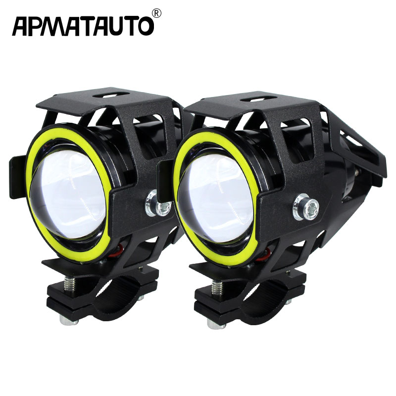 2PCS 125W Motorcycle Headlight w Angel Eye Devil Eye 3000LM moto spotlight U7 LED Driving Fog