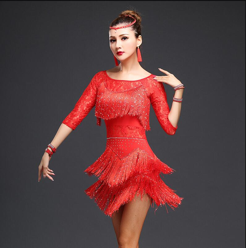 Latin Dance Dress Women Fringe Dress Dress&Earrings Competition/Practice Cha Rumba Samba Salsa Dance Dress Great Gatsby