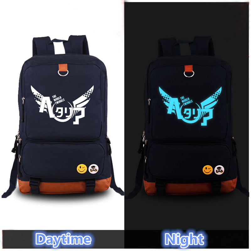 2017 Harajuku High Quality Axis Powers HETALIA Luminous Cosplay Printing Backpack School Bags for Teenagers Canvas Laptop Bag high quality anime preppy tokyo ghouls luminous printing canvas travel fashion backpack rucksack school bags for teenagers