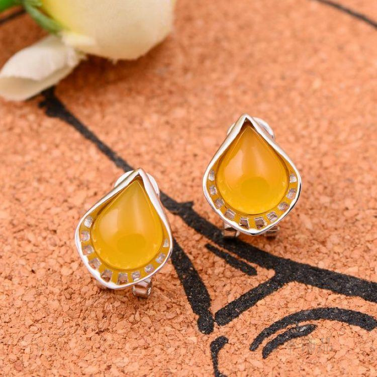 925 silver Natural semi-precious stones yellow chalcedony girlfriend gift yellow Earrings water drops fresh sweet female 925 sterling silver jewelry natural semi precious stones retro yellow chalcedony earring classical retro girlfriend gift