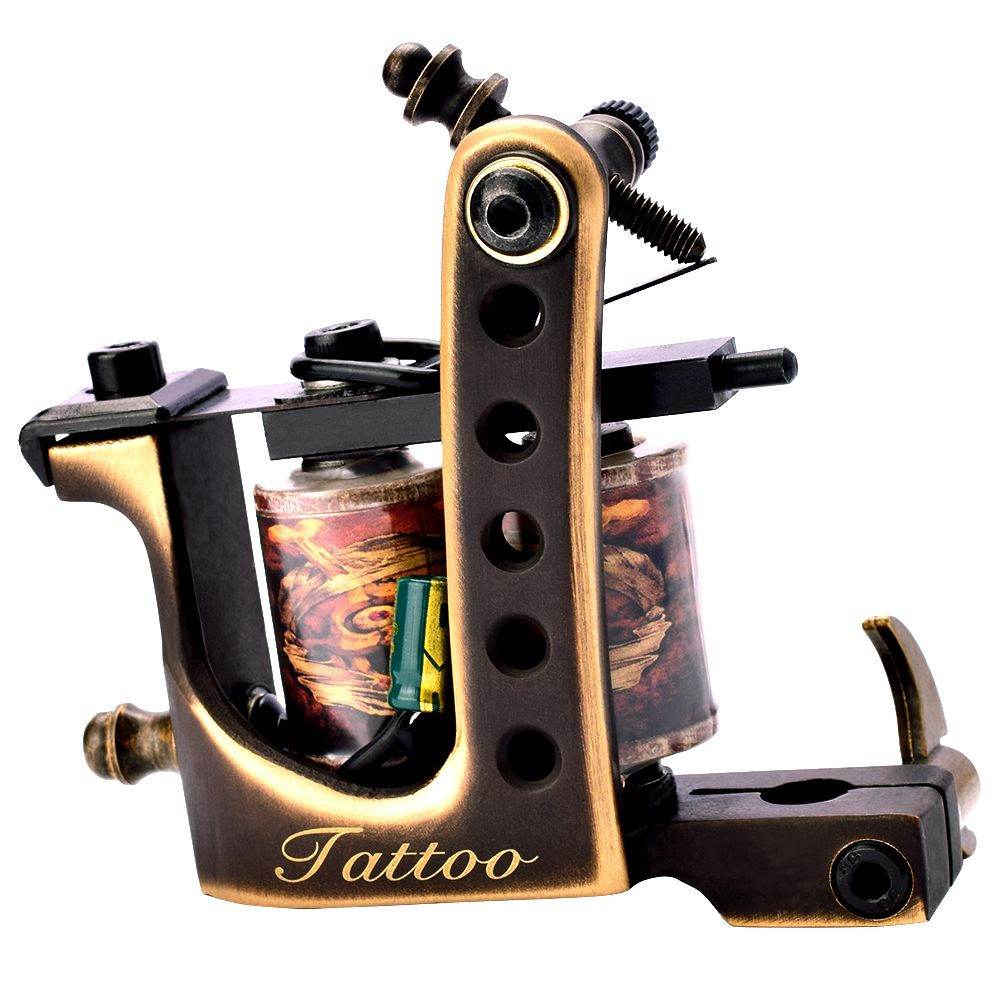 1pc Rotary Coil Pure Copper Tattoo Guns 10 Wraps Liner And Shader Top Quality Tattoo Motor Machine Gun Set top quality customs handmade tattoo machine kit 10 wraps coil zinc alloy machine for liner and shader free shipping tm 1114