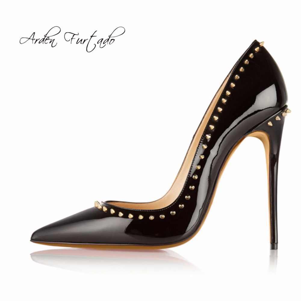 Arden Furtado 2019 sexy tacchi alti 12 centimetri scarpe per donna tacchi a spillo partito nudo scarpe con borchie rivetti pompe grande formato 44 45