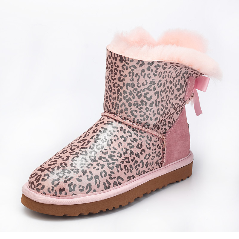 Australia 100% natural sheep fur snow boots women short boots / winter warm flat bottomed large boots / lace-up/free shipping