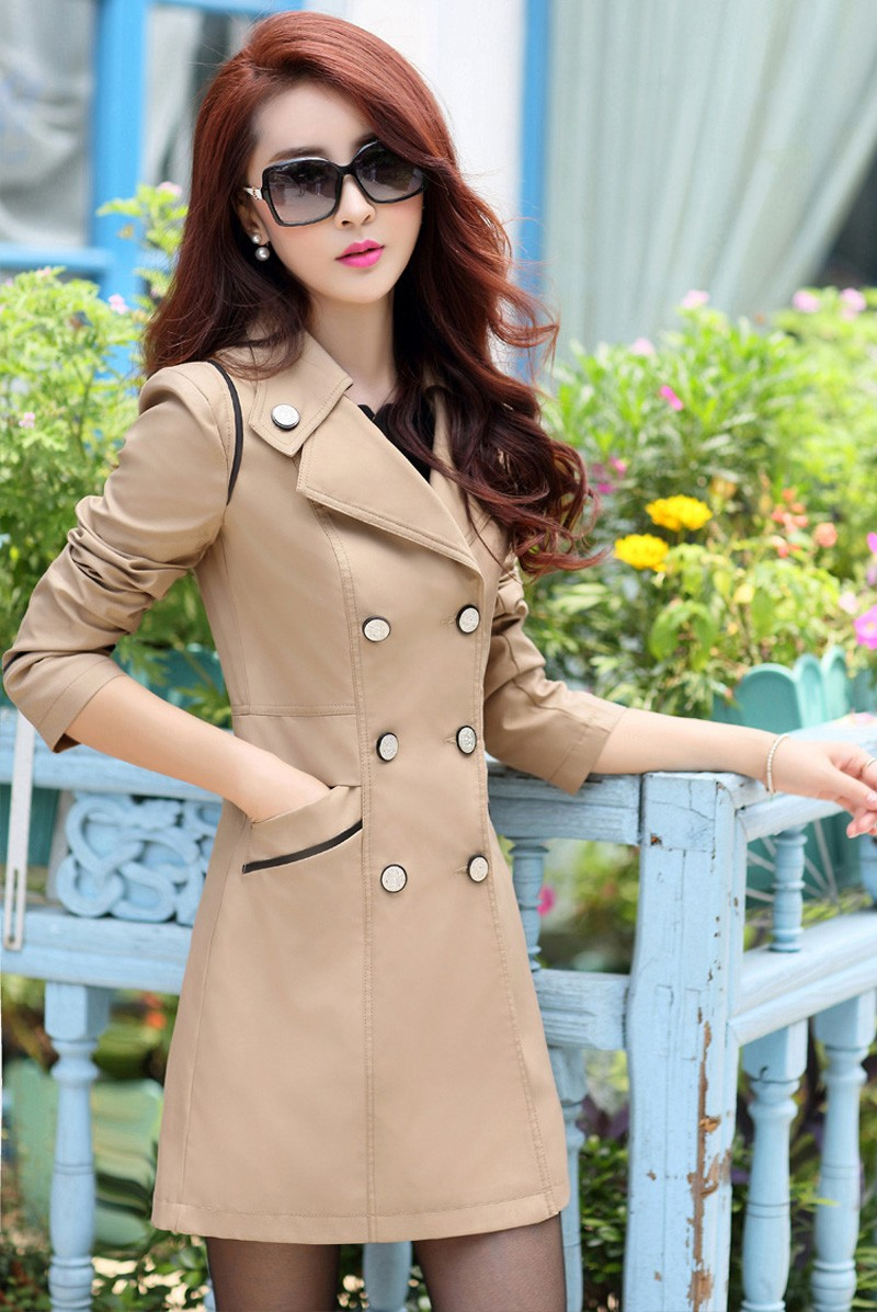 FIONTO Spring Autumn Trench Coat 19 Turn Down Collar Casual Trench Coat Women Solid Long Slim Double Breasted Coats A034-1 6