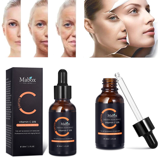 MABOX 30ML Vitamin C Serum Whitening and Anti-Aging Removing Spots and Freckle Anti Wrinkles Moisturizing Facial Tools Drop Ship 1