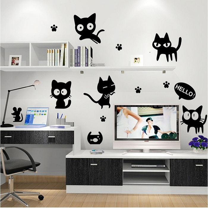 Black Cat Cute DIY Vinyl Wall Stickers For Kids Rooms Home Decor Art