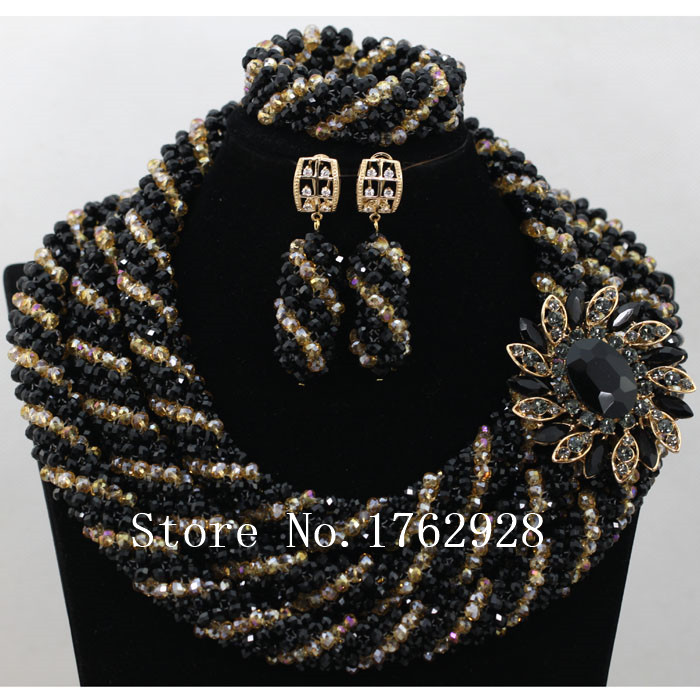 new handmade black and gold color crystal lace jewelry set africa
