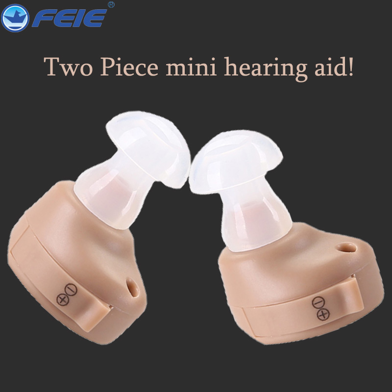 2 PCS hearing aid mini in ear best sound amplifier cheap hearing aids double pieces pro for left and right ear deafness personal acosound invisible cic hearing aid digital hearing aids programmable sound amplifiers ear care tools hearing device 210if