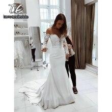 Fora do ombro vestidos de noiva sereia manga longa ilusão apliques andar comprimento varredura trem vestido de noiva