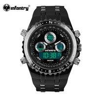 보병 남성 시계 파일럿 Reloj 디지털 스포츠 시계 패션 럭셔리 브랜드 시계 크로노 그래프 알람 30 메터 방수