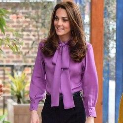 New Kate Middleton Princess purple Blouses fashion Bow designer OL long sleeve shirts 1688
