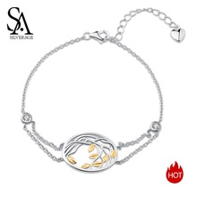 SA SILVERAGE 925 Silver Chain Link Bracelets Female Sterling Bangles for Women Yellow Gold Color Life Tree