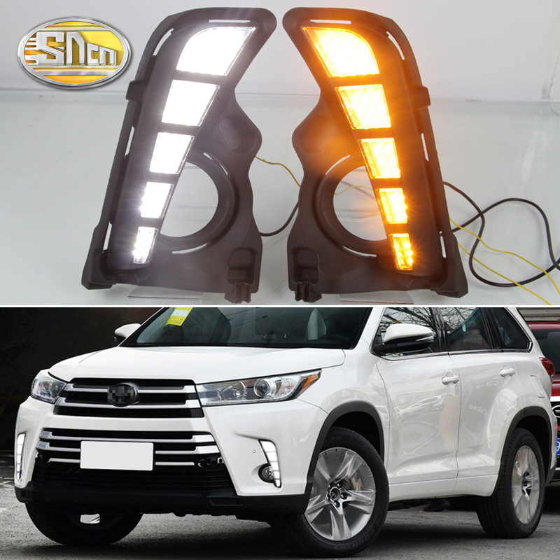 цена на For Toyota Highlander 2018 2019 Yellow Turning Signal Style Relay Waterproof Car DRL 12V LED Daytime Running Light Daylight SNCN
