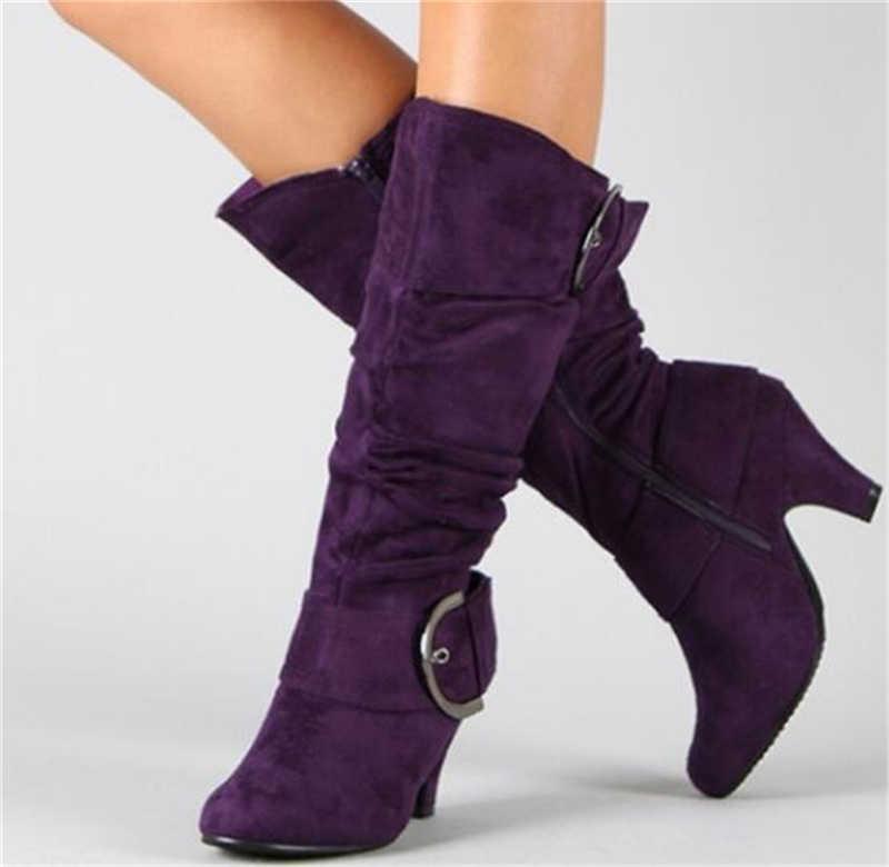 SARAIRIS/Новые Большие размеры 34–43 модные ботинки до середины икры пояс на молнии женские башмаки с пряжками осень-зима на высоком каблуке Женская обувь сапоги