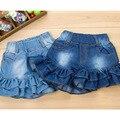 2-9Years Velho Crianças Cowboy Calças Curtas Fahion Marca Elástico Na Cintura Falbala das Panelas Menina Novo Vestido de Jeans Crianças Shorts