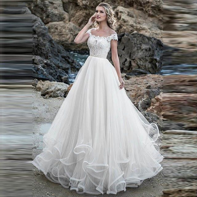 A line Wedding Dress 2019 Lace Appliques With Ruffles Tulle Beach Bridal Gown White Ivory Robe
