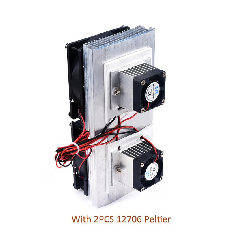 12V Dual-core Electronic Refrigerator Diy Semiconductor Refrigeration Chip Cooling Module Cool Kit With 2pcs 12706 Peltier