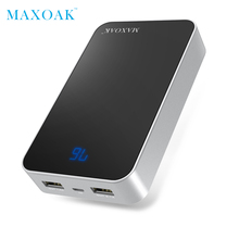 MAXOAK 13000 mAh 18650 power bank Dual USB finest external battery and LCD show portable charging battery for phone and tablet