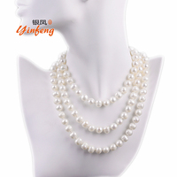 9 10mm Big Potato Shape Pearl Necklace Real Nature Freshwater Pearl Fashion Long Necklace For Women