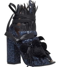 Hot Selling Women Blue Bling Fringe Decoration Sandals Ankle Lace Up Thick Heel Gladiator Shoes Fashion Sequined