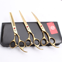 Z3003 3Pcs 7 Golden Japan Steel Cutting Shears + Thinning Scissors Down Curving Professional Pets Hair Suit