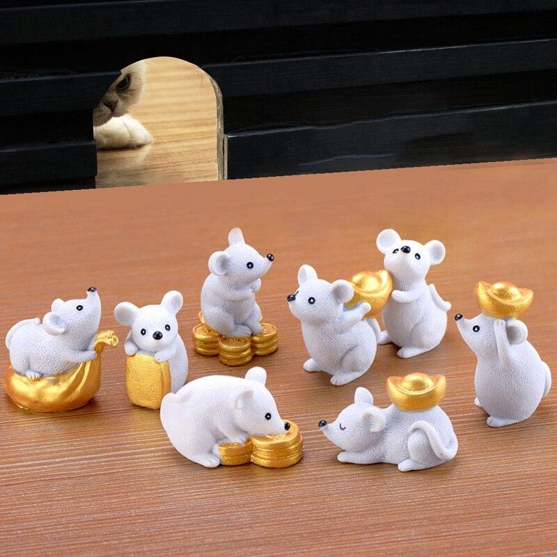 Figurines Miniatures 8 pièces/ensemble riche Rat souris résine bonsaï animaux décoration de la maison accessoires artisanat figurines bricolage résine cadeau