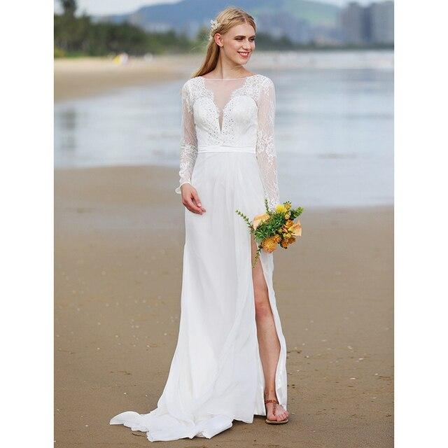 LAN TING BRIDE A Line Plunging Neckline Wedding Dress Sweep Brush ...