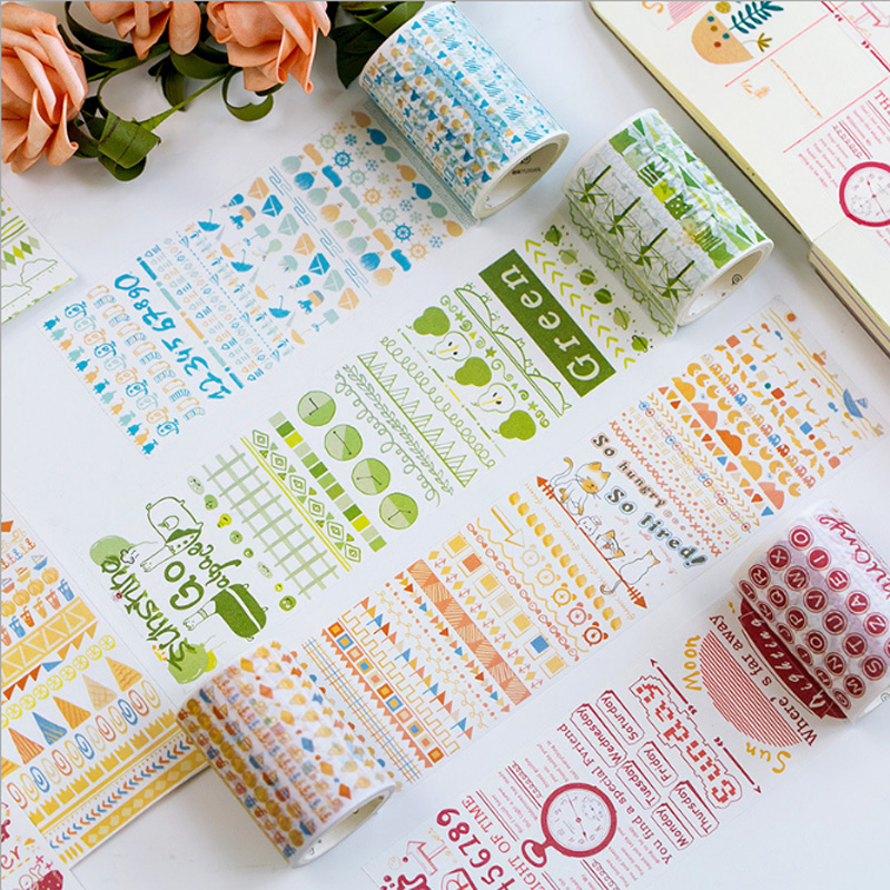 60mm x5M Cute Time series washi tape DIY decorative Diary Scrapbook paper tapes kawaii adhesive label sticker stationery