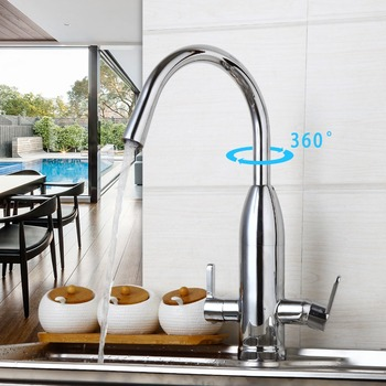 Kitchen&Canteen 2Lever Water purifier Faucet 360 Degree Swivel Rotated Mixer Tap Chrome Finish Hot&Cold Water Mixer Taps