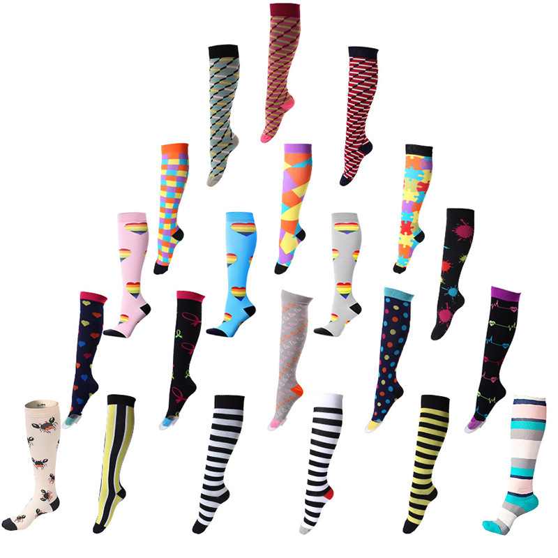 Women Men Long Tube Compression   Socks   Knee Printed Quick Dry Sweat Absorption Outdoor Cycling Running Sportswear