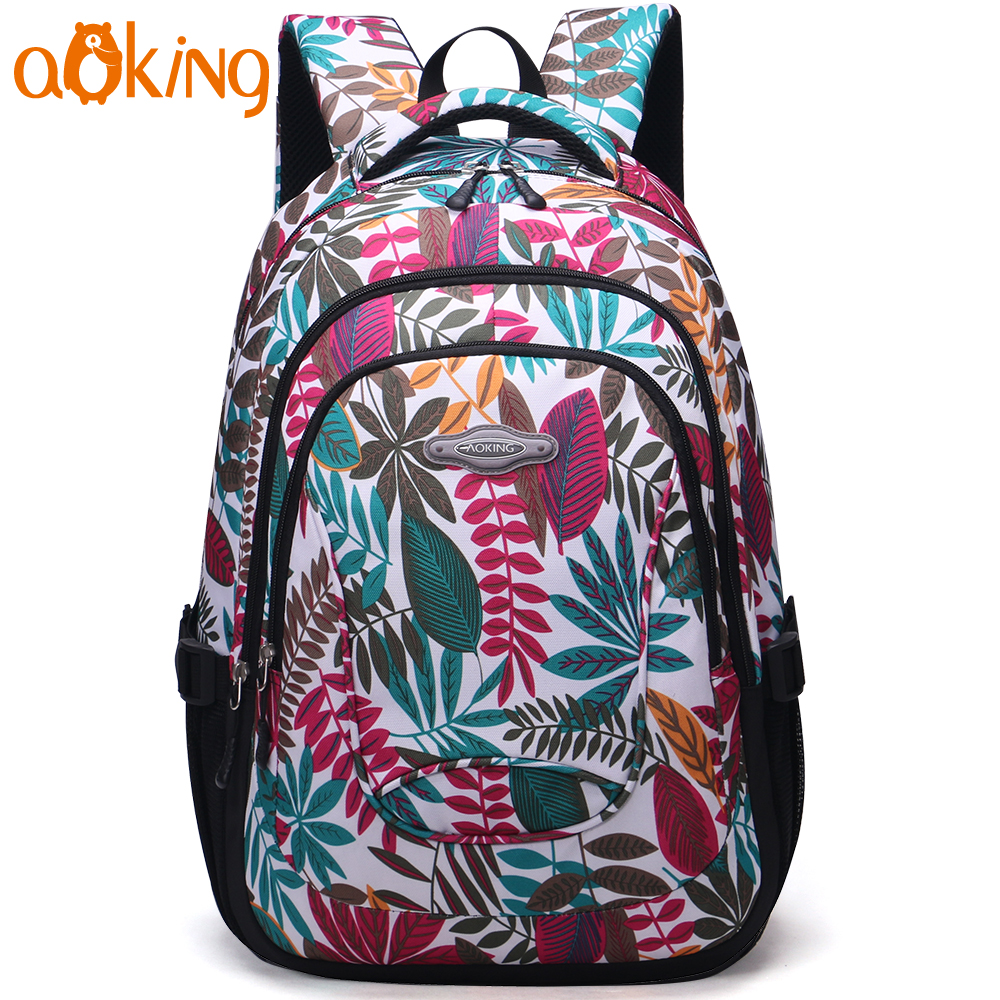 Aoking Lightweight Flowers Printing Daily Travel Backpacks Women School Backpack Casual Floral For Teenager Girls Nylon Backpack