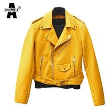 ACHIEWELL ZA Autumn Women PU Leather Jacket Long Sleeve EPAULET Turn-Down Collar Yellow Women Short Jacket Coat For Winter