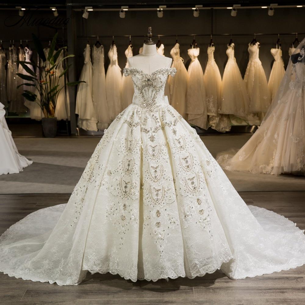 Miaoduo Luxury Blond Applique Pärlor Beading Prinsessan - Bröllopsklänningar