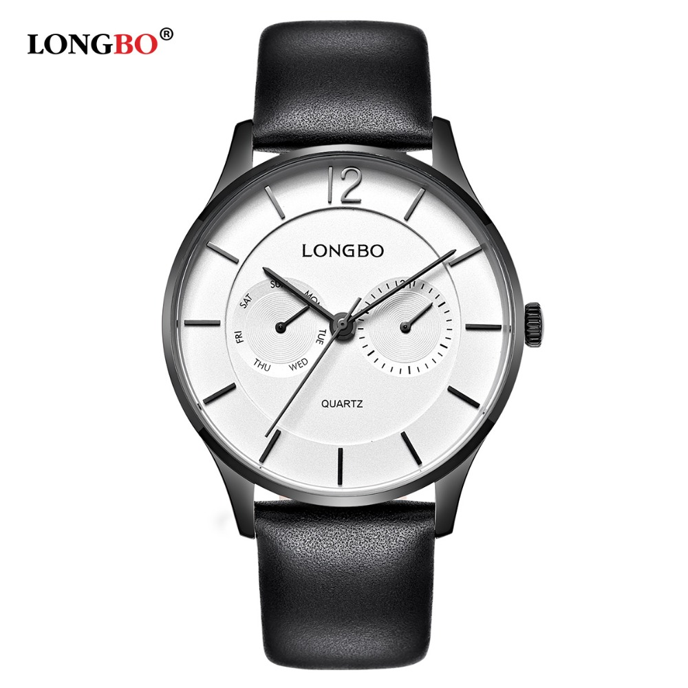 LONGBO New Leisure Men Watches Thin Big Dial Black Leather Quartz Watch Fashion High Quality Wristwatch Relogio Masculino Clock men s fashion brand quartz watch big dial silicone watches male high quality business leisure sports gift wristwatch new hour