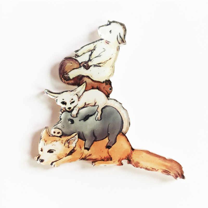1 個かわいいピカアクリルバッジペットにポケットキャラクターブローチ原宿動物漫画ピンバックパックスカーフ服ギフト